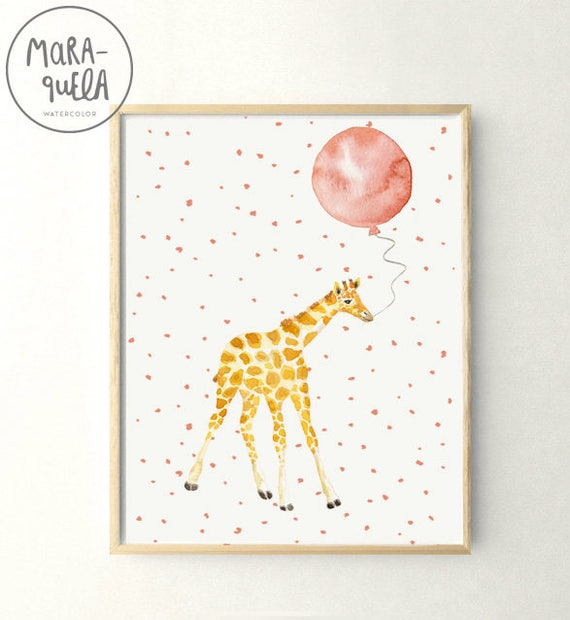 Little GIRAFFE Peach Pink balloon Watercolor with customized name. Jirafa con globo rosa melocoton personalizada