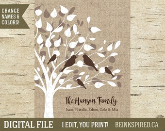 Personalized Family Tree Art Print Sign, Engagement Couple Gift, Wedding Anniversary Gift, Home Wall Decor Poster Printable, DIGITAL FILE