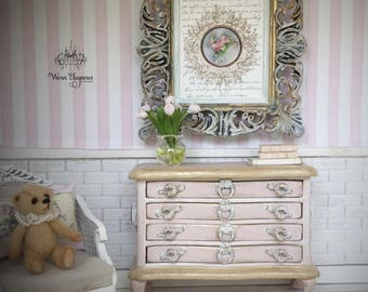 Dollhouse Miniature Accent Chest and Artwork,1:12, Blush Pink, Champagne Accents, Shabby Pink Roses, French Pulls, Ornate Frame with Artwork