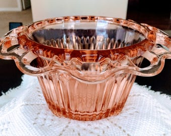 Vintage Depression Glass Decorator Bowl - Pink Open Lace Pattern - circa 1930's