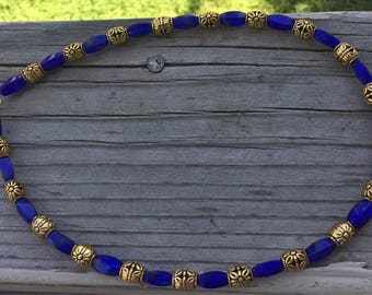 Cobalt Blue and Gold Necklace