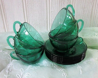 French Green Glass Teaset