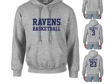 Ravens Basketball Hoodie Unisex Adult Grey Hooded Sweatshirt Front and Back Print Options Lucas Nathan Scott One Tree Hill Inspired