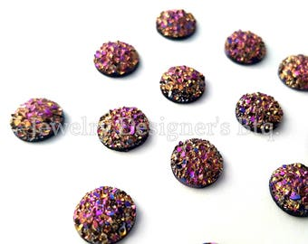 10mm Druzy Cabochon Iridescent Resin Faux Druzy Drusy Cabochons Kawaii Cabs Fits 10mm Flat Round Bezel Golden Magenta
