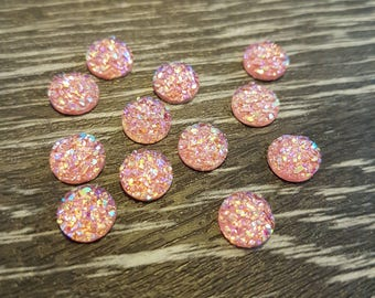 8mm Iridescent Faux Druzy Cabochons Resin Kawaii Cabochon Glitter Embellishments Jewelry Supplies Earring Components Ring Findings Soft Pink