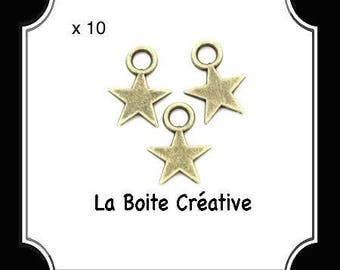 10 CHARMS IN BRONZE METAL STAR