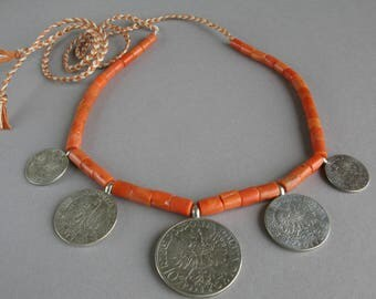 Antique Ukrainian coral necklace with silver coins, Mediterranean coral beads +Gift