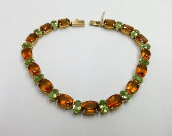 citrine and peridot bracelet in 14k yellow gold 7 inches long /multi gem gold bracelet 7 inches