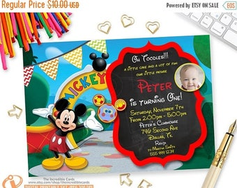 50% OFF SALE Mickey Mouse Invitation with photo, Mickey Mouse Photo Birthday Invitation, Mickey Mouse Clubhouse Invitation, Mickey Printable