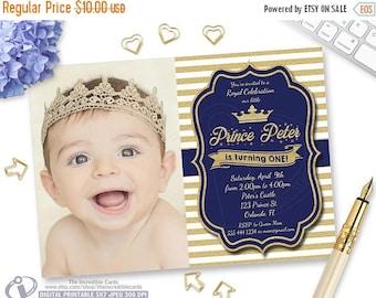 50% OFF SALE Blue and Gold Birthday Invitation, Our Little Prince, Gold Glitter Stripes, Boy 1st Birthday, Printable Digital, Photo Birthday