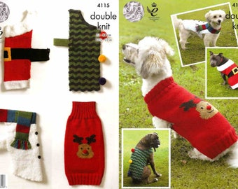 """King Cole Knitting Pattern 4115~Christmas Dog Coats~DK and Chunky~12.75-33"""""""
