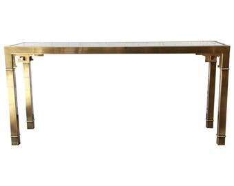 Brass glass console Etsy