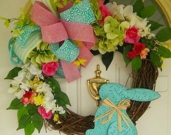 Grapevine Bunny Wreath,Bright Spring Wreath, Spring Grapevine Wreath, Bunny Grapevine, Spring Wreath,Spring Floral Wreath,Wreath Hydrangea