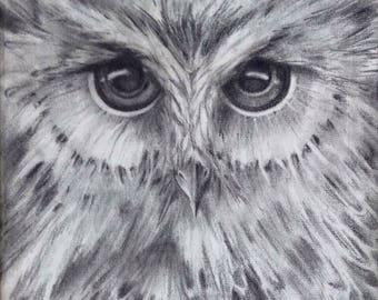 "Framed Print of Original Charcoal Drawing 8""x8"""