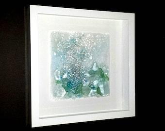 Effervesce ~ Fused Sea Glass Wall Sculpture ~ Ocean Inspired Glass Art ~ Deep Sea Art ~ Ocean Water Bubbles ~ Modern Glass Art ~May Waynorth