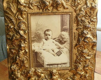 Vintage French Gilded Photograph Frame,  French Frame with Cherubs or Angels, French Picture Frame, Vintage French Frame.
