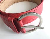Peter Kent Wide Red Leather Belt with Silver Chrome Buckle Size L