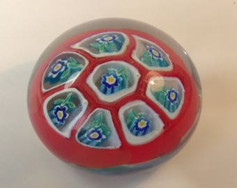 Millefiori Paper Weight Vintage Vienitian Glass Paper Weight Murano Cane Glass Paper Weight Italian PaperWeight