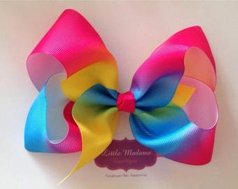 5inch Summer rainbow ombre Boutique Bow