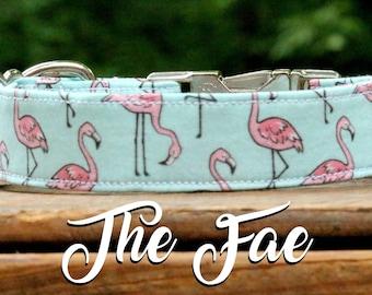 Dog Collar Flamingos, Flamingo Dog Collar, Summer Dog Collar, Summer Collar, Girl Dog Collar, Girl Collar, Pink and Blue Dog Collar