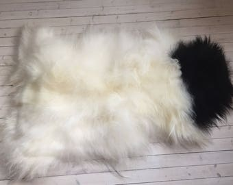White black long haired sheepskin rug spael sheep skin throw 17233