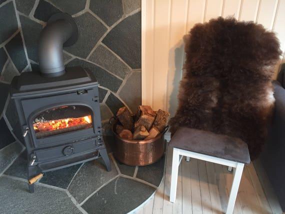 Decorative Sheepskin rug supersoft rugged throw from Norwegian norse breed medium locke length sheep skin white grey 18039