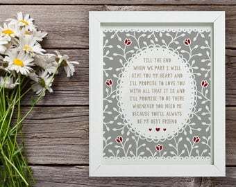 Custom Quote Paper Cut Frame