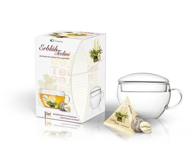 Erblüh Teelini weißer Tee Geschenkset  Handarbeit 1 Teetasse 8 Teekugeln in 4 Variationen Geschenkideen