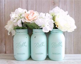 SUMMER SALE Mint Green Mason Jars - Mint Centerpiece - Mason Jar Decor - Painted Mason Jars - Set of 3 Quart Mason Jars - Baby Shower Center