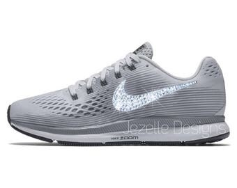 2a55da424b55 Bling Nike Air Zoom Pegasus 34 in Cool Grey Custom Hand Jeweled w Swarovski  Crystals ...