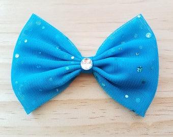 Girls Blue Sparkle Hair Bow, Blue Fabric Bow, Sparkly Hair Bow, Girls Hair Bow, Girls Bow, Toddler Bow, Girls Hair Clip, Girls Barrette