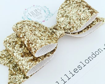 Glitter Hair bow, wedding hair bow, party hair clip, large sparkly bow, oversized hair clip, gold hair slide, glitter hairbow, gift for her