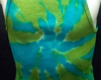 Hand Dyed Tie dye boys girls XL ribbed tank top spiral in turquoise and lime green Hanes comfortsoft tagless brand
