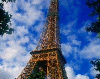 digital photo Eiffel Tower Impressionist painting style