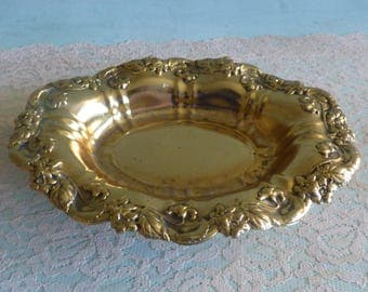 Gold Trinket Dish Hollywood regency soap dish Victorian Ring Dish Jewelry Tray