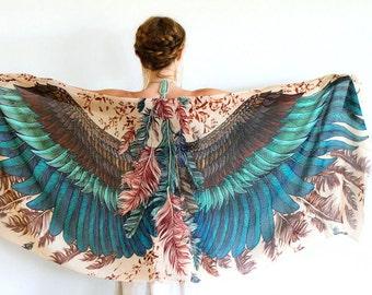 SALE Silk Shawl, Boho Wrap, Womens Cape Scarf, Womens Wrap, Bridesmaid Scarf, Feather Print Wrap, Engagement Gift, Bohemian Shawl, Rustic Sh