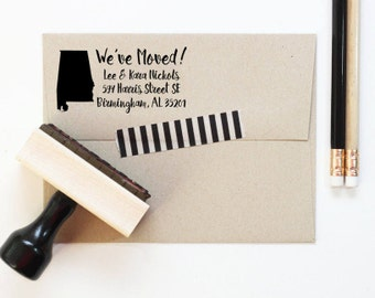 Personalized Return Address Stamp New Home We've Moved Stamp Change of Address Rubber Stamp Moving Announcement State Silhouette Stamp