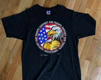 Vintage 1991 Desert Storm Support Our Troops T-shirt Size Large L Black Made in USA
