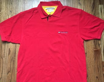 Vintage Tommy Hilfiger Athletics Polo Shirt Size L Large Red Yellow