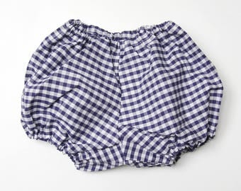 Baby bloomers - model blue GINGHAM - 3, 6, 9, 12 months - bloomers