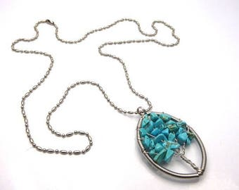 Necklace tree of life turquoise mounted on stainless steel chain