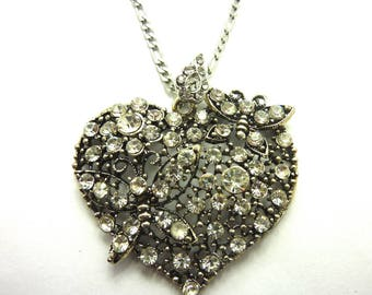 Mounted on stainless steel chain Crystal Heart Necklace