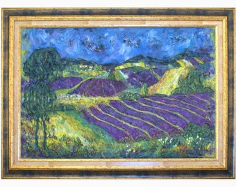 Provence landscape, provence painting, violet lavender, impressionist style, print original art, lavender fields and hills, provence decor