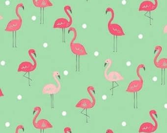 KNIT: Dear Stella Flamingoes Knit.  Sold by the 1/2 yard