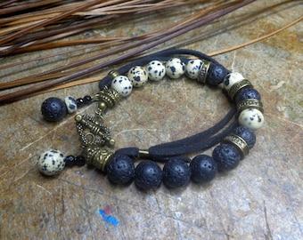 Boho bracelet Jasper Dalmatian and lava stones, ethnic bracelet, bracelet gemstones, boho chic bracelet, black and ivory.