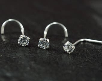 1 Piece Sterling Silver Nose Ring Nose Screw Nose Stud Clear CZ Crystal
