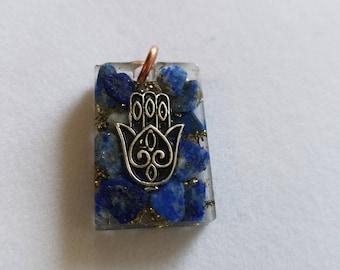 Hamsa  Hand w/lapis lazuli