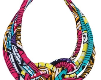 African Print rope choker necklace