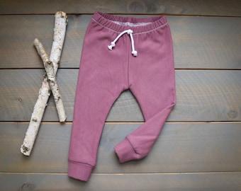 baby joggers mauve pink, organic infant toddler sweatpants, baby leggings blush pink, organic sweatpants, toddler joggers, newborn pink