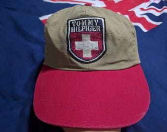 vintage 90s tommy hilfiger patch logo 2 tone color adjustable cap hat rare!!